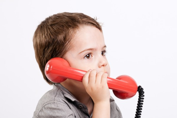 Kid with telephone